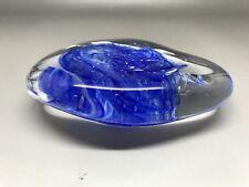 Arte De Vidrio Azul Guijarro Pisapapeles-unknown Maker