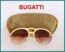 ORIGINAL Vintage BUGATTI GOLD Plated & Horn OVAL AVIATOR Sunglasse 1980's FRANCE