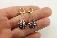 14k yellow gold 5.5ctw ruby round drop dangle chain earrings estate vintage