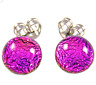 """Tiny DICHROIC Post EARRINGS 1/4"""" 7mm Magenta Blue Fuchsia Fused GLASS Dots STUDS"""