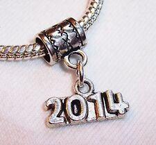 2014 Year Date Number Birth Graduation Anniversary Charm for European Bracelets