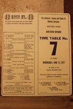 ATSF-SANTA FE RAILWAY NORTHERN DIVISION EMPLOYEE TIMETABLE #7 JUNE 15,1977-TAN