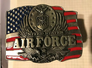 U.S. Air Force Metal Hitch Cover (USA Flag with Insignia and Eagles)