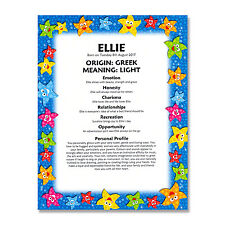 FIRST NAME MEANING PRINT Personalised Gift Baby Birthday Christening Naming Day