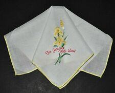 vintage handkerchief Hanky embroidery Flower orig sticker For Grandma With Love