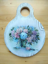Cutting Board Wood Solid Natural Kitchen Hortensia Watercolor Paint Handcrafted