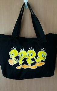 Warner Brothers Tweetie Pie Tote Bag NEW Black Cotton Canvas Heavy Duty Quality