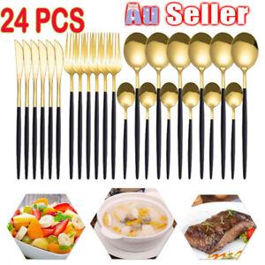 24 PCS Stainless Steel Cutlery Sets Black Rose Gold Fork Spoon Tea Cafe Dinne AU