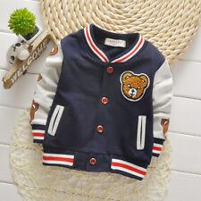Child Boys Girls Cartoon Bear Button Cardigan Sportswear Cotton Jacket Kids Tops