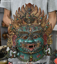 "16"" Tibet Turquoise Inlay Gem Mahakala Wrathful Deity Buddha Head Mask Statue"