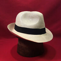 Ivory Straw Fedora Men's Hat with Black Band Vintage -- Size 7 1/8