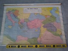 ODD 1929 Vintage THE BIBLE WORLD School Classroom Pull Down Wall Map LINEN CLOTH