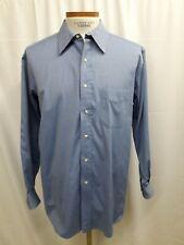 GITMAN BROS. BLUE 100% COTTON DRESS SHIRT 17.5-34 B Button Down Pinpoint