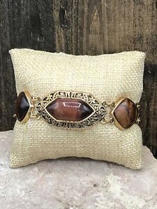 Barse Fleur Tigers Eye Toggle Bracelet- Bronze- New With Tags