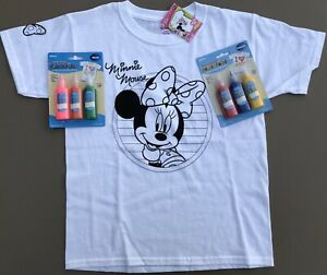 Girls Medium DISNEY MINNIE MOUSE Simplicity Coloring T-Shirt & Fabric Paints