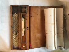 Antique travelling writing set containing inkwell, nib storage, pen rack coverin
