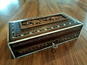 VINTAGE WOOD BOX WITH CARVED ELEPHANTS