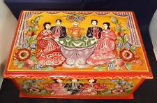 """Hand Painted, SIGNED Russian Wooden Box. Couples having Tea. 10""""X6""""x6"""" Beautiful"""