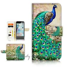 ( For iPhone SE ) Wallet Case Cover P21436 Peacock