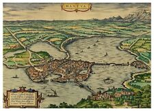 Mantua Lombardy Italy bird's-eye view map Braun Hogenberg ca.1575