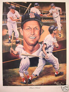 STAN MUSIAL ST LOUIS CARDINALS  LTD EDITION LITHOGRAPH BY ARTIST ANGELO MARINO