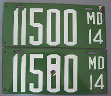 1914 Maryland License Plates matched pair nice high quality original