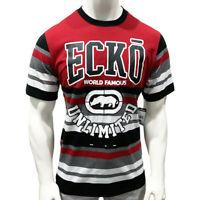 NWT ECKO UNLTD. AUTHENTIC MEN'S RED BLACK CREW NECK SHORT SLEEVE T-SHIRT