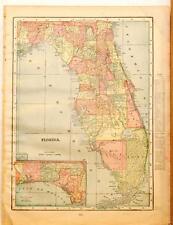 Beautiful Original 1899 Florida Large Color Map/10x14