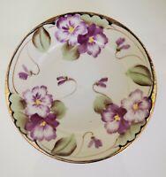"Nippon Tohina E-OH Plate Hand Painted Purple Flowers, Gold Rim  7"""