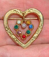 "Vintage Brooch Pin Double Heart Rhinestone Gold Tone Pearl 1"" X 1"""