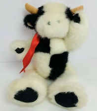 Vintage Mary Meyer Cow Plush Black White Stuffed Animal Toy Red Bow 1993 11""