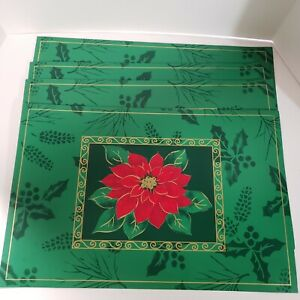 Vtg 4 Poinsettia Christmas Holiday Placemats Vinyl Green Red Gold Holly NEW Set
