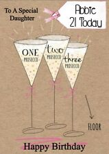 personalised birthday card Prosecco any name/age/relation.