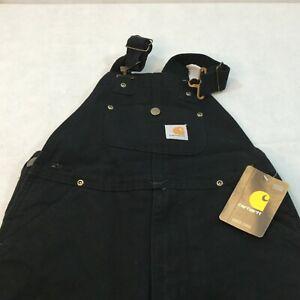 Carhartt Duck Bib Overalls Jeans Size 8 R01 Black Work Denim Rugged NEW