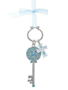 4 in Tiffany Blue Silver Metal Key With Bow Ornament (FAITH) by Kurt Adler