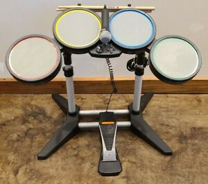 100% Tested Rock Band 822148 Drum Set Kit PS3 PS2 PS4 Wired Pedal w/ Microphone