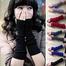 Woman Worm Arm Warmers Long Gloves Winter Autumn Fingerless Mittens Funk Black