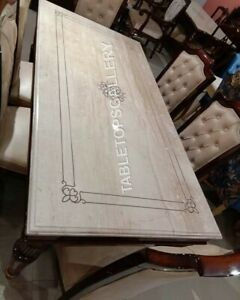 4'x2' White Italian Marble Table Top Mother Of Pearl Inlay Handmade Decors E948