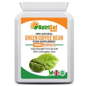 Green Coffee Bean Extract 5000mg 90 Capsules, Vegan, 50% CGA, Safe Weight Loss