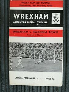 68/9 Wrexham vs Swansea Town (Welsh Cup 6th Round) ** plus Newspaper Report**