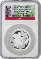 2013 P $1 AUD 1 oz .999 Silver Proof Australian Koala High Relief NGC PF70 UC