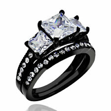 Stainless Steel Wedding Ring Band Set Women's 1.9 Ct Princess Cut Aaa Cz Black