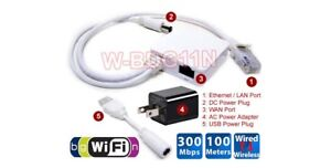 Premium 300Mbps Wireless Router Wi-Fi Repeater + Wi-Fi To Wired Ethernet Adapter