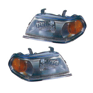 Headlights Pair Set for 00-04 Mitsubishi Montero Sport (Chrome) Left & Right