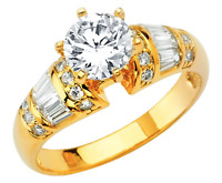 2.35 Ct Round Baguette Cut Engagement Wedding Ring Solid Real 14K Yellow Gold