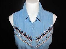 Forever 21 Southwest Aztec Sleeveless Denim Shirt Size S Tie Waist Studded New