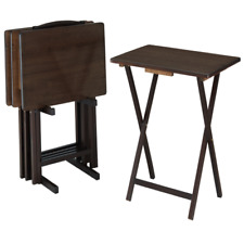 MAINSTAYS WALNUT 5-PIECE FOLDING TV TRAY TABLE SET (4 TRAYS, 1 STAND) - BROWN