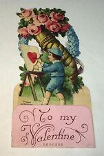Antique Victorian American Die Cut Painter! Heart & Easel Valentine Card! German