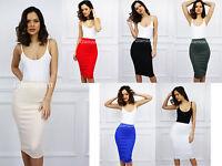 Glamzam New Womens Ladies Midi High Waisted Pencil Bodycon Stretch Party Skirt