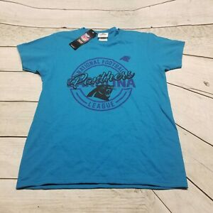 Majestic Carolina Panthers NFL Tee Shirt Blue Black Women's Size Small